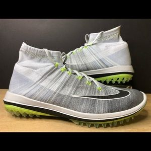 Nike Flyknit Elite Golf Shoes Grey Black Volt